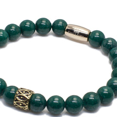 Exclusive King's Dark Green Jade and Marquise Tube  Bracelet