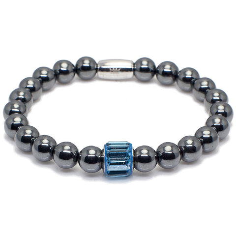 Exclusive King's Aquamarine Swarovski® Crystal + Hematite Bracelet