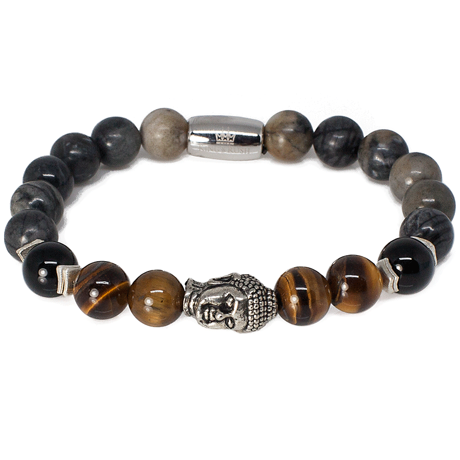 Exclusive King's Black Picasso Jasper and Buddha Head Bracelet