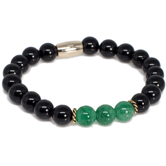 Exclusive King's Black Onyx and Aventurine Bead Bracelet