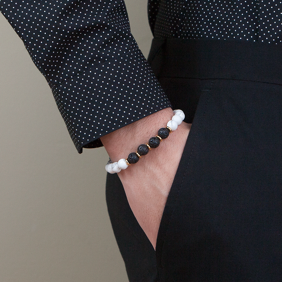 Exclusive King's 14k Accents with Lava & Howlite Bead Bracelet