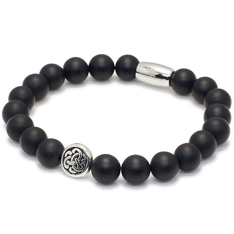 Exclusive King's Celtic Matte Black Onyx Bracelet