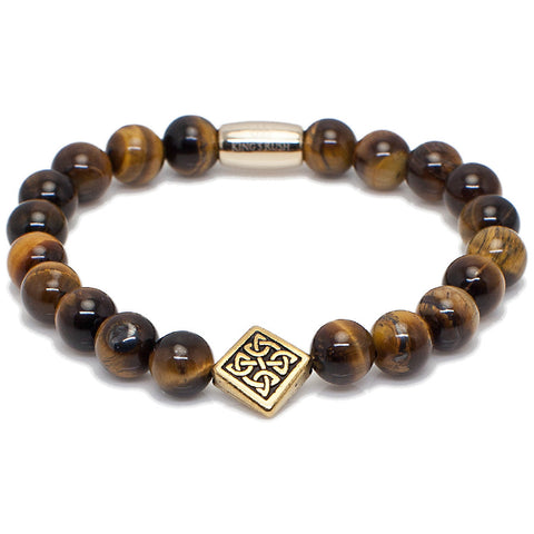 Exclusive King's Antique Gold Celtic Tiger's Eye Bracelet