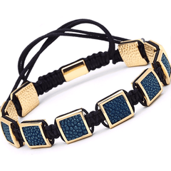 Authentic Luxury Stingray Leather Square Bracelet - Blue