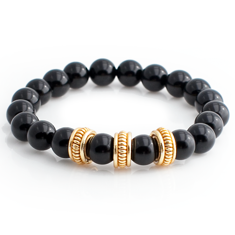 Exclusive King's Black Onyx Gold Plated Rope Beads Bracelet-King's Rush-King's Rush