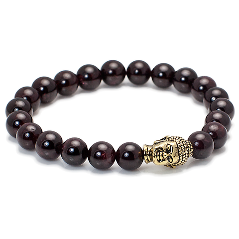 Exclusive King's Buddha Head and Garnet Stone Bracelet