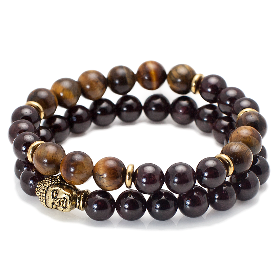 Exclusive King's Buddha Head, Garnet Stone + Tiger's Eye Set