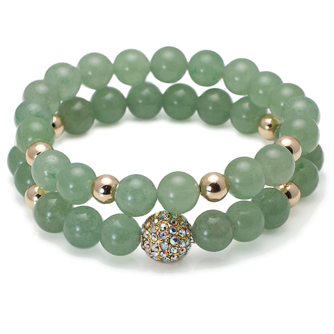 Jade - Iridescent Crystal Ball Bracelet Set
