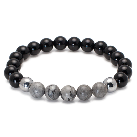 Exclusive King's Black Onyx Jasper and Hematite Bracelet
