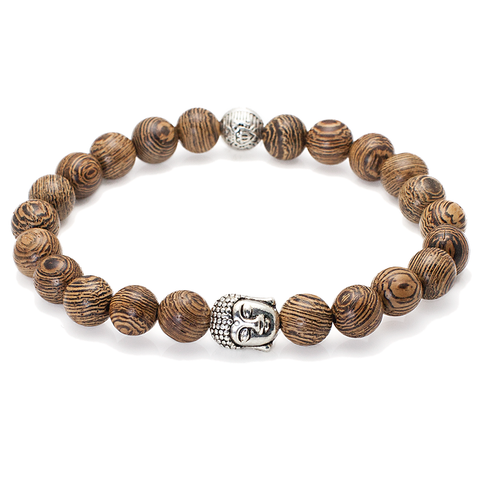 Mala Natural Wood Buddha Head Bracelet