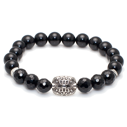 Exclusive King's Faceted Onyx and Silver Ornate Bead Bracelet