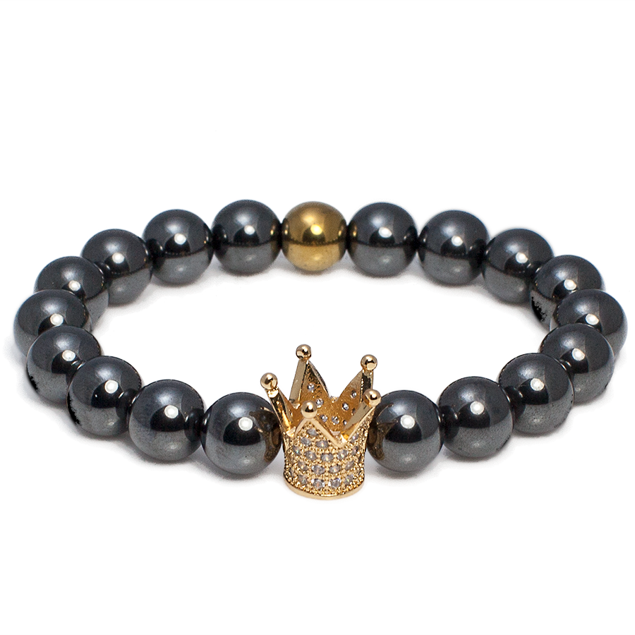 Exclusive King's Gold Crown & Hematite Bracelet