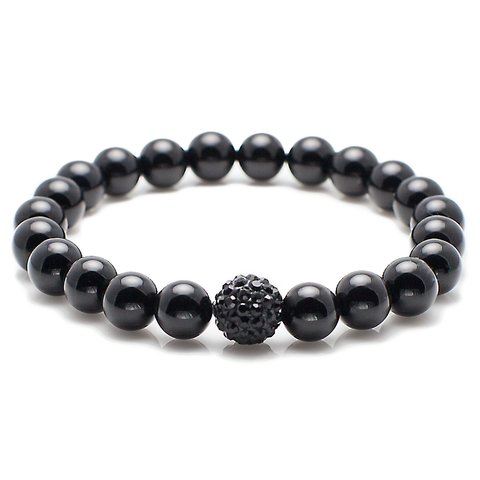 Exclusive King's CZ Diamond Ball + Polished Black Onyx Bracelet-King's Rush-King's Rush