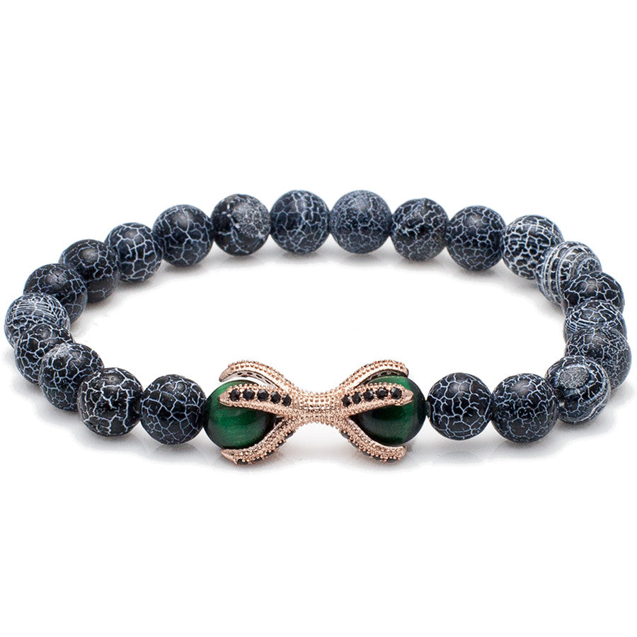 Black CZ Encrusted Eagle Claw Beaded Bracelet