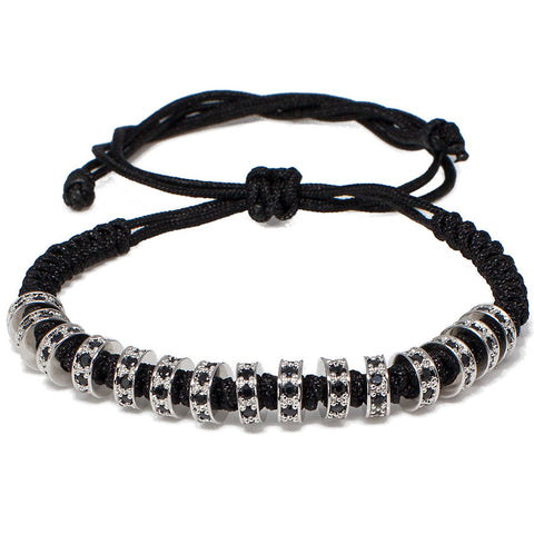 Black Rhodium CZ Diamond Stoppers Macrame Bracelet