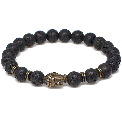 Black Lava And Buddha Head Bracelet