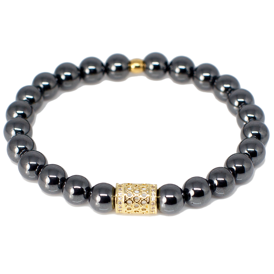 Exclusive King's Genuine Micro Pave CZ Bead + Hematite Bracelet