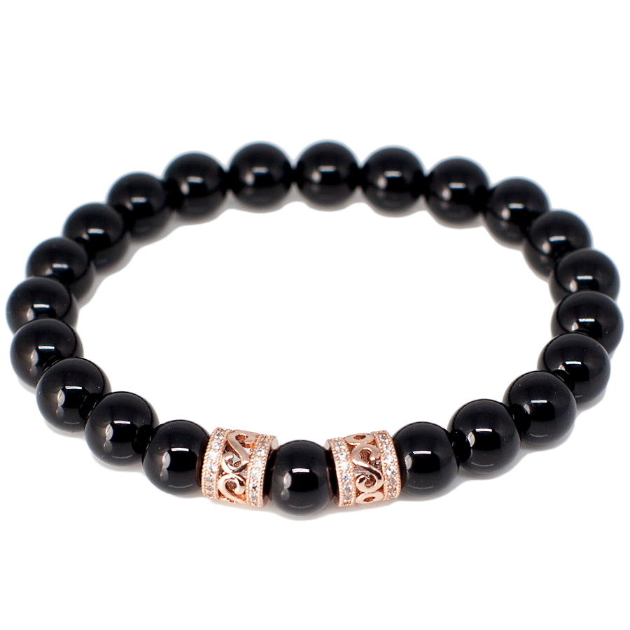 Exclusive King's Genuine Micro Pave CZ Bead + Onyx Bracelet