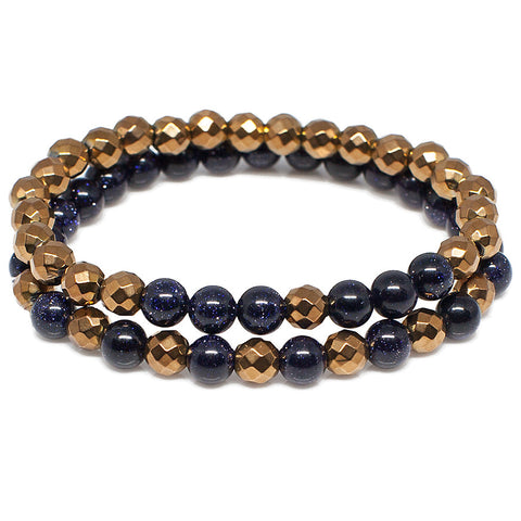 Exclusive King's Blue Goldstone + Copper Color Hematite Bracelet Set