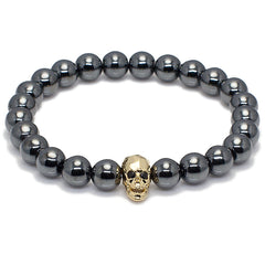 Faceted Skull Head and Hematite Bead Bracelet