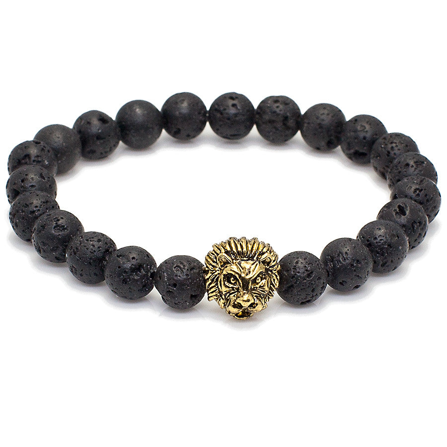 Lion Head + Lava Beads Bracelets