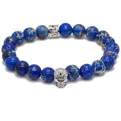 Blue Sediment Stone With Skull  Bracelet