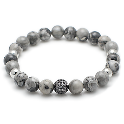 Pave Diamond Ball & Gray Jasper Stone Bracelet-King's Rush-King's Rush