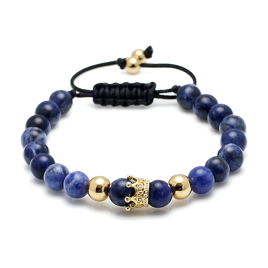 Blue Lapis Stone Gold Plated Crown Men's Macrame Bracelet-King's Rush-King's Rush