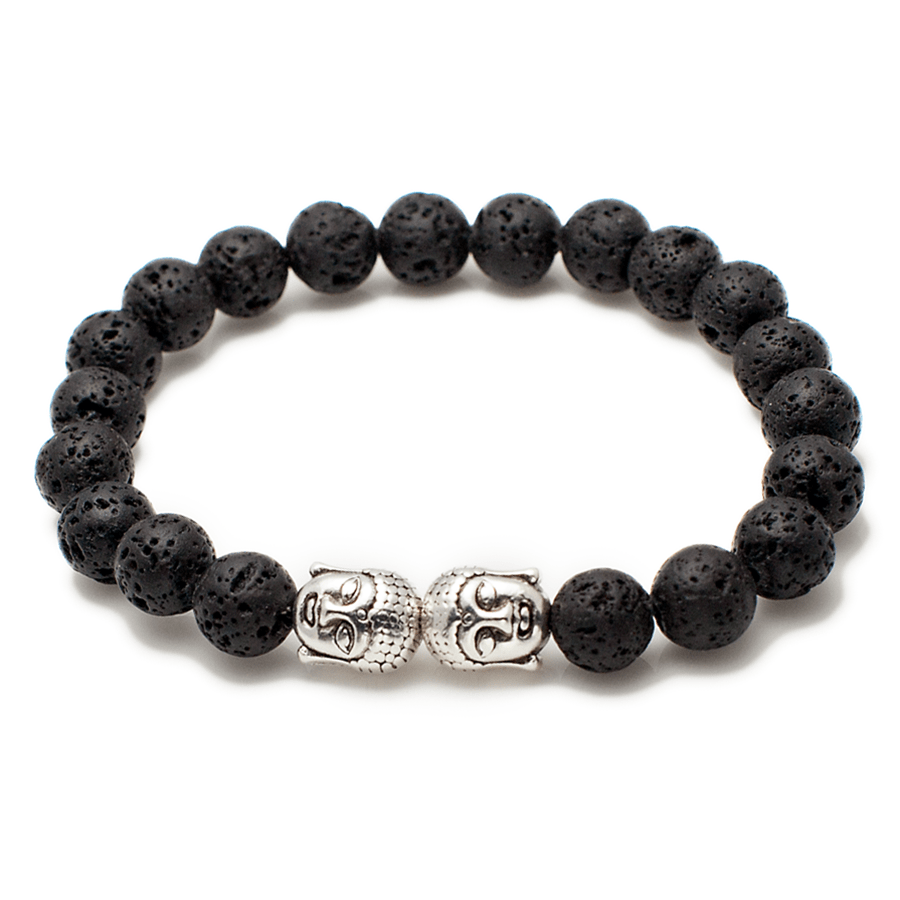 Exclusive King's Buddha Heads and Volcanic Lava Stone Bracelet-King's Rush-King's Rush