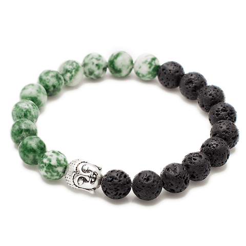 Exclusive King's Buddha Head, Natural Lava and Agate Bracelet-King's Rush-King's Rush