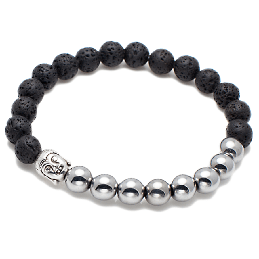 Exclusive King's Buddha Head, Natural Lava and Natural Hematite Bracelet-King's Rush-King's Rush