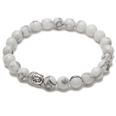 Exclusive King's Buddha Head and Howlite Bracelet-King's Rush-King's Rush