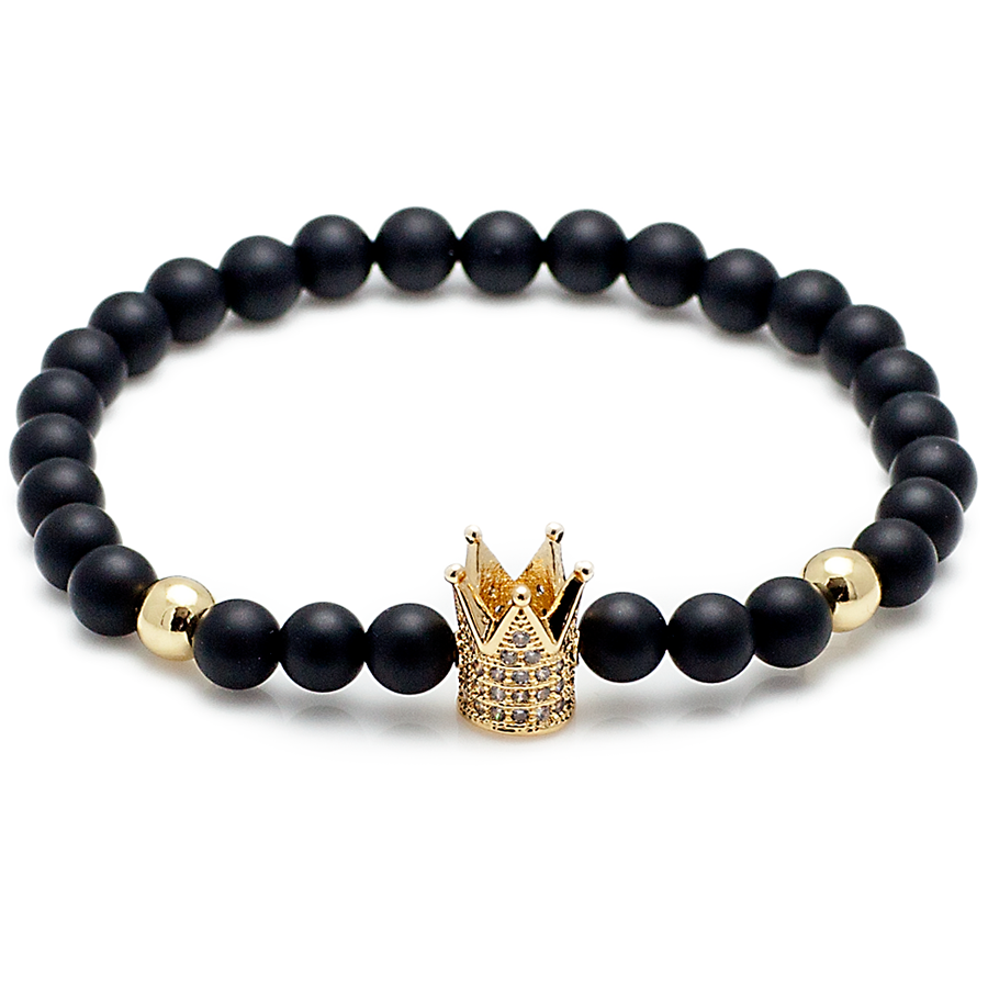 King's Crown & Black Onyx - Beaded Bracelet-King's Rush-King's Rush