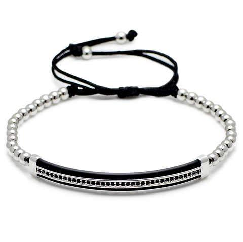 Silver Diamond Leather Bar - Men's Bracelet-King's Rush-King's Rush