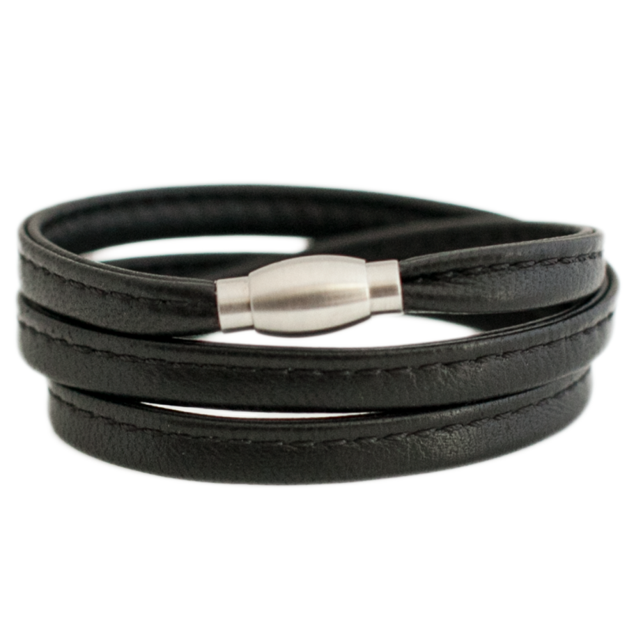 Stitched Nappa Leather Wrap Bracelet with Stainless Steel Magnetic Clasp-King's Rush-King's Rush