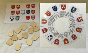 S9A -13 shields with symbols for the apostles, 12 shield control cards - Kit