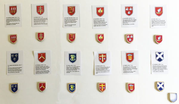 S9R -13 shields with symbols for the apostles, 12 shield control cards  - Ready Made