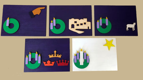 W14B - Advent Plaques (Set of 5)