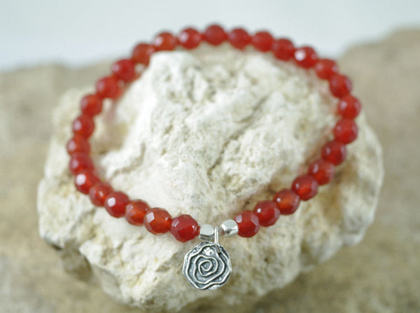 Carnelian Stretch Bracelet with Spiral Charm for Fertility and Sexuality