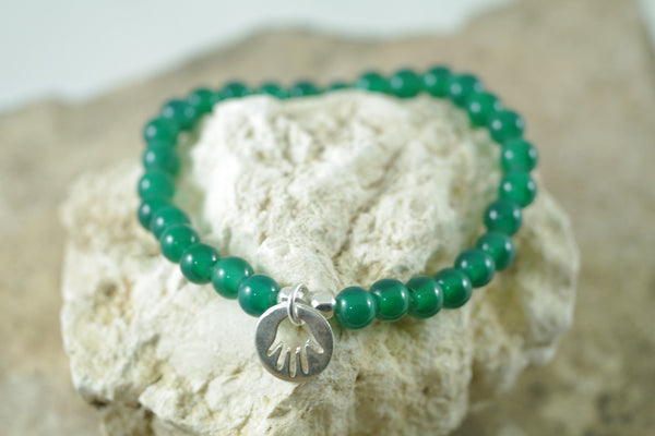 Green Agate Stretch Bracelet with Hamsa Charm