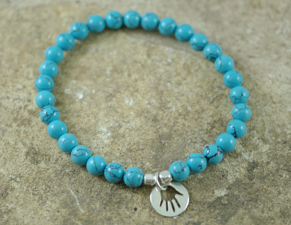 Turquoise Stretch Bracelet with Hamsa Charm for Protection and Healing