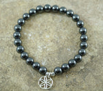 Hematite Stretch Bracelet with Flower of Life Charm