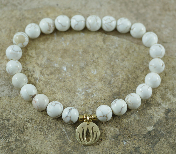 Howlite Stretch Bracelet with Goldfilled Lotus Charm for Anti Anxiety