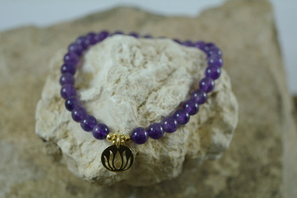 Amethyst Stretch Bracelet with Goldfilled Lotus Charm