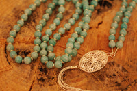 Gemstone Mala Necklace with Amazonite Beads and Silver Tassel