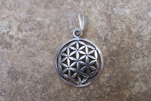 Authentic Flower of Life Charm Pendant in Sterling Silver