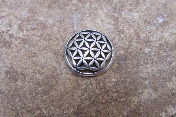Coin shape Flower of Life Charm in Sterling Silver