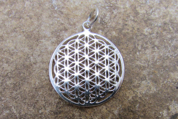 Flat Flower of Life Charm Pendant, 925 Sterling Silver, Rich Detailed