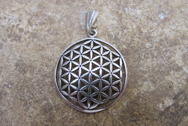Original Flower of Life Pendant, Large Charm Sterling Silver