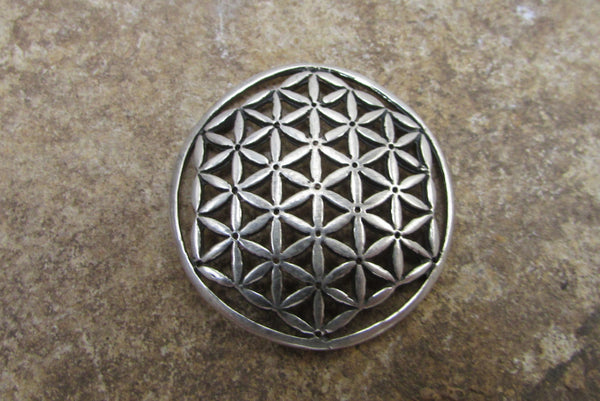 Large Coin Shape Flower of Life Pendant in Sterling Silver